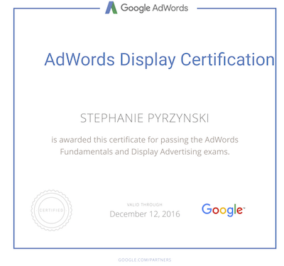 Stephanie Pyrzynski Google Ads Display Certification