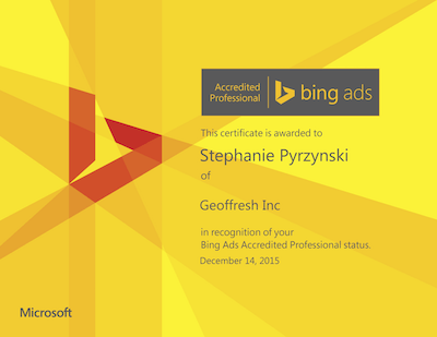 Stephanie Pyrzynski Bing Ads Certification