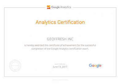 Geoffrey Pyrzynski Google Analytics Certification