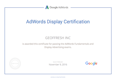 Geoffrey Pyrzynski Google Ads Display Certification
