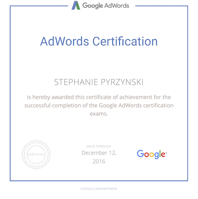 Stephanie Pyrzynski Google Ads Search Certification