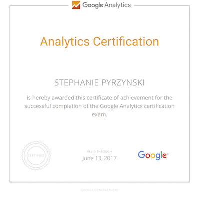 Stephanie Pyrzynski Google Analytics Certification