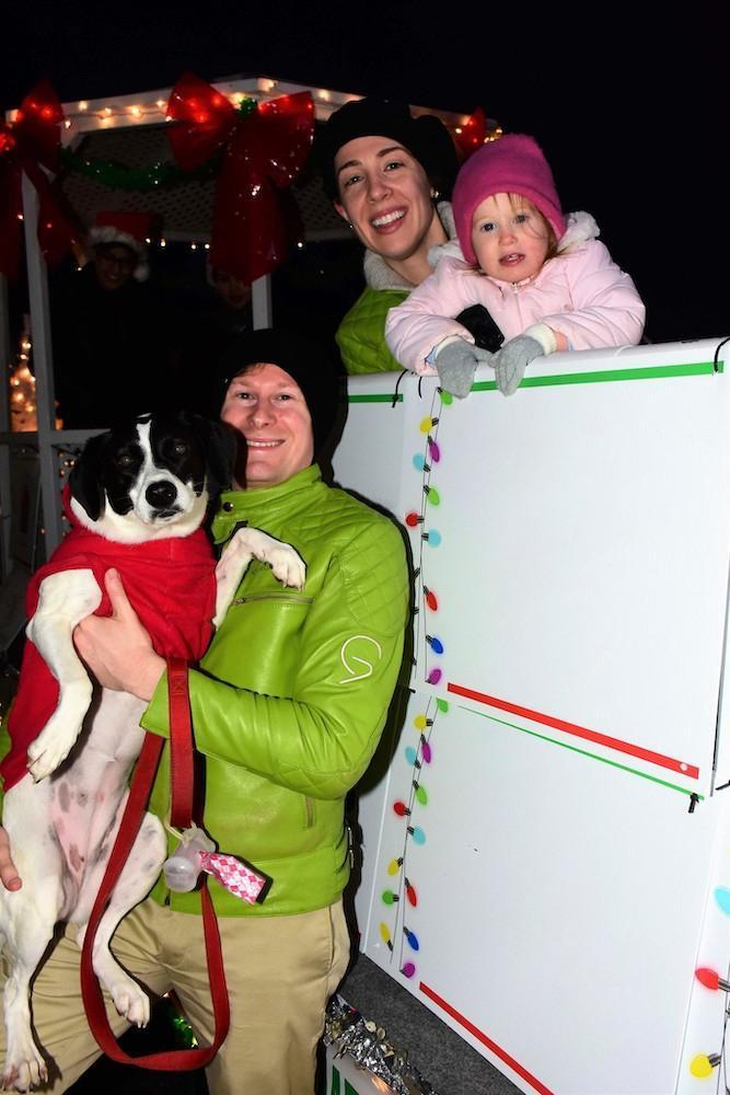 Geoffresh Geoffrey Stephanie Eileah and dog Samantha just before the 2019 Tinley Park Parade of Lights kickoff